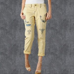 True Religion Yellow distressed ' Jordan ' jeans